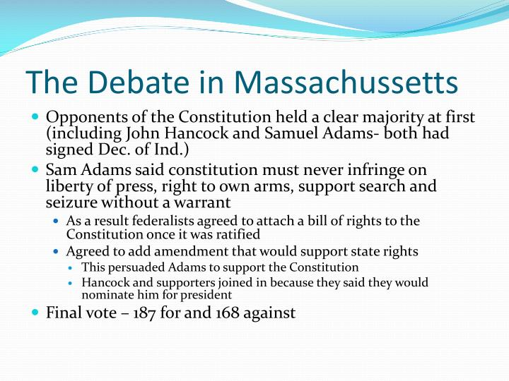 The Debate in Massachussetts