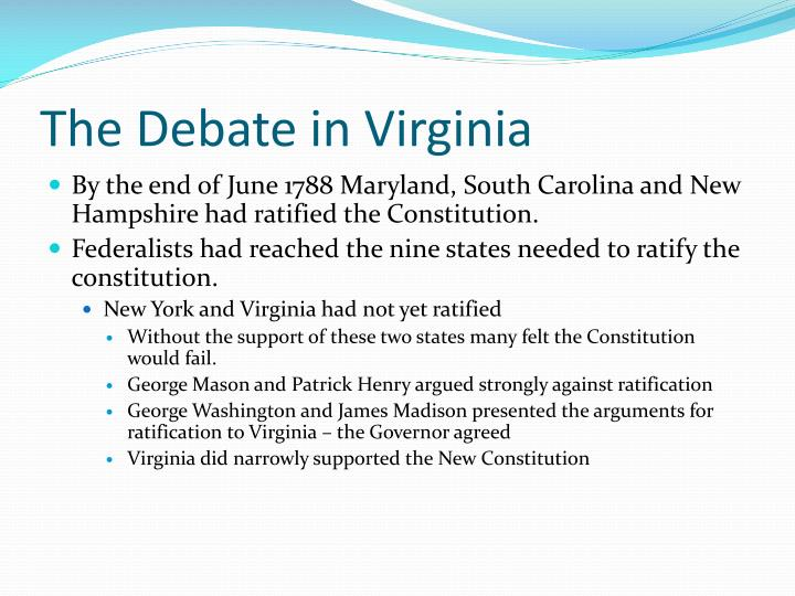The Debate in Virginia