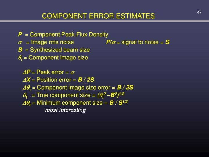 COMPONENT ERROR ESTIMATES