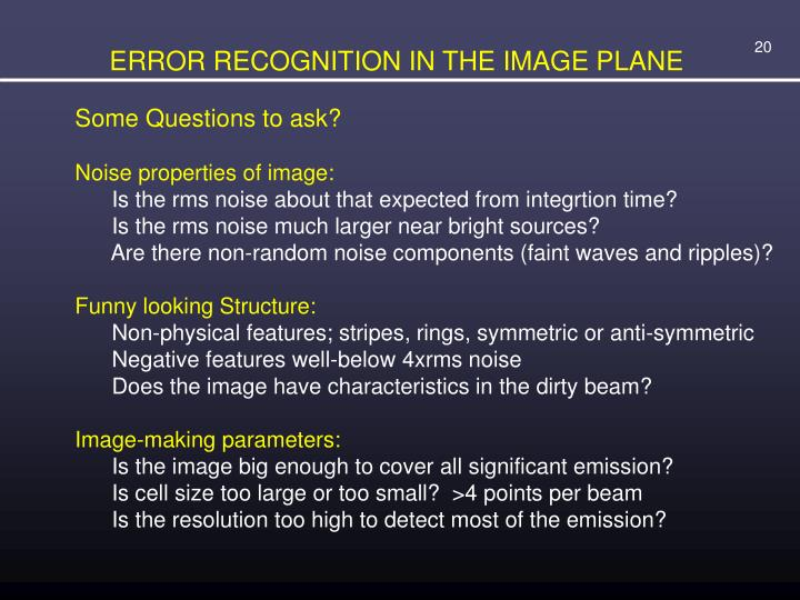 ERROR RECOGNITION IN THE IMAGE PLANE
