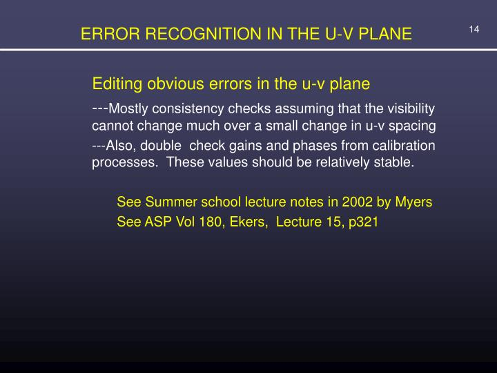 ERROR RECOGNITION IN THE U-V PLANE