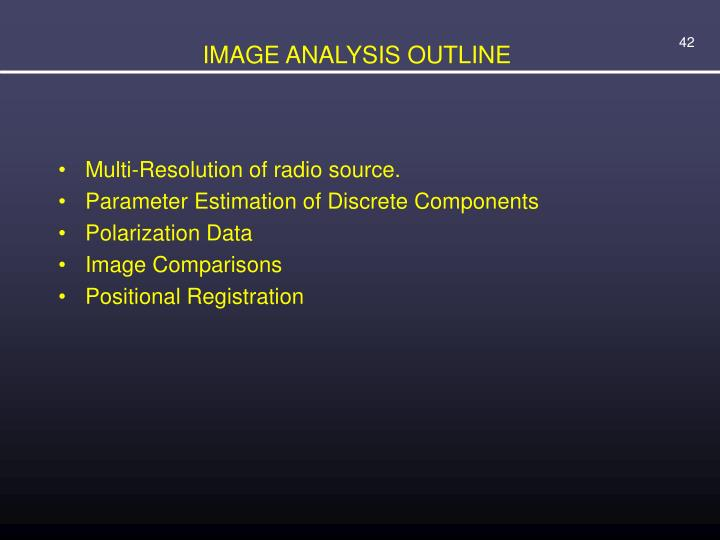 IMAGE ANALYSIS OUTLINE
