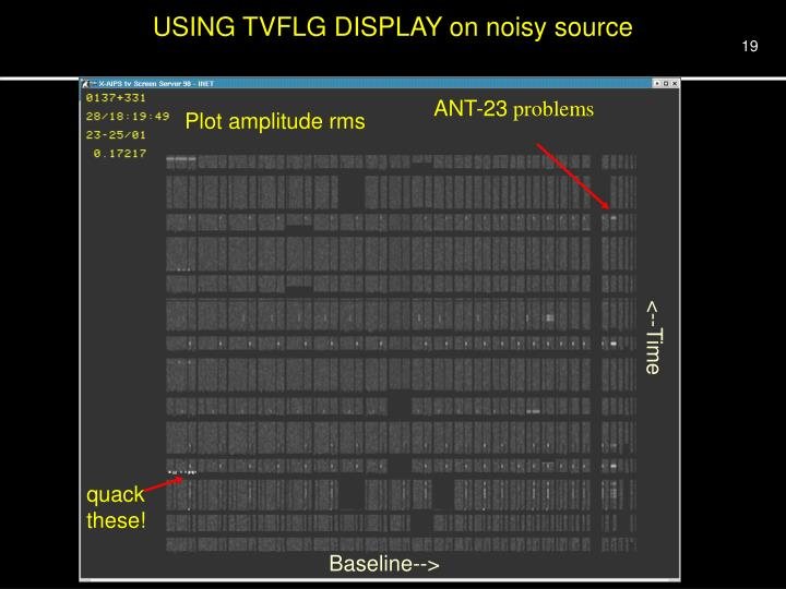 USING TVFLG DISPLAY on noisy source