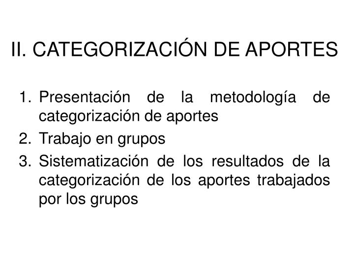II. CATEGORIZACIÓN DE APORTES