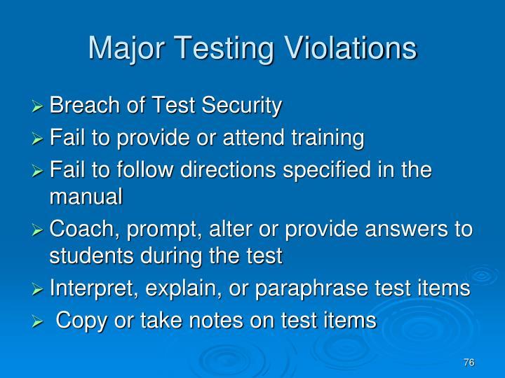 Major Testing Violations