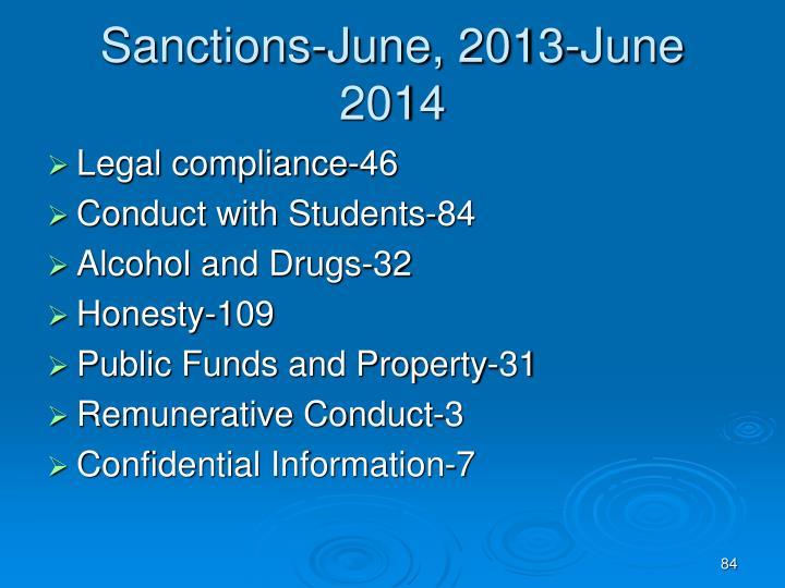 Sanctions-June, 2013-June 2014