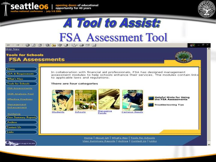 FSA  Assessment Tool