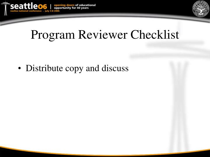 Program Reviewer Checklist