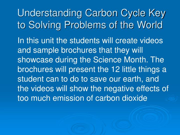 Understanding carbon cycle key to solving problems of the world