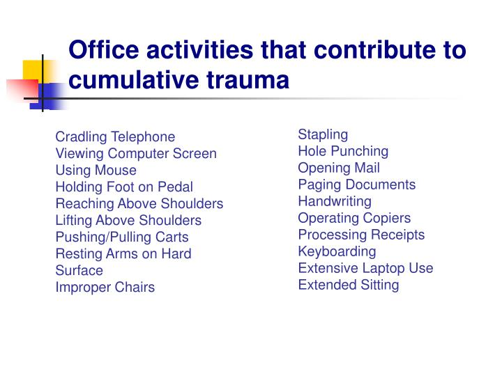 Office activities that contribute to cumulative trauma