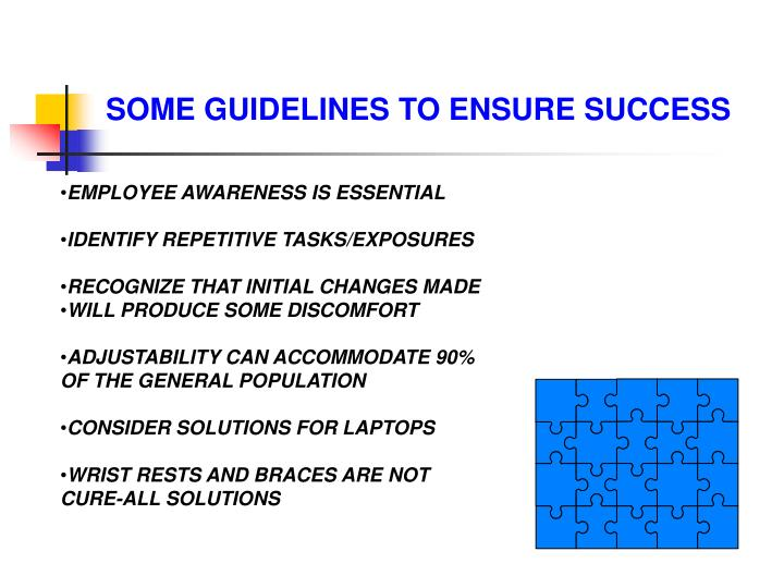 SOME GUIDELINES TO ENSURE SUCCESS