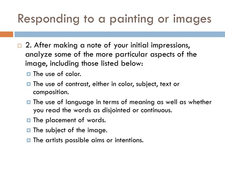 Responding to a painting or images1