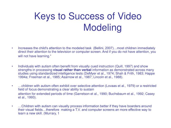 Keys to success of video modeling