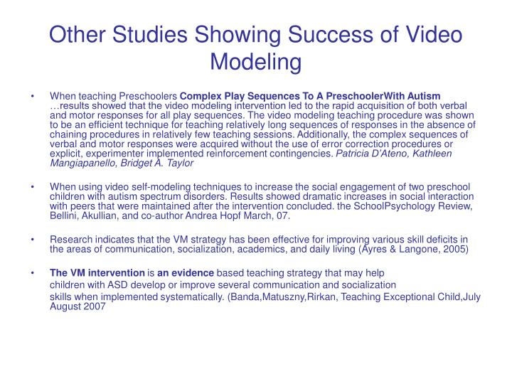 Other Studies Showing Success of Video Modeling