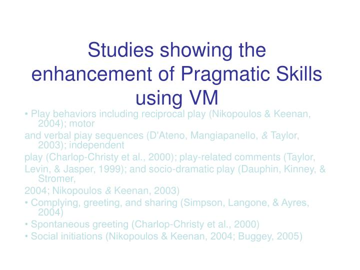 Studies showing the enhancement of Pragmatic Skills using VM