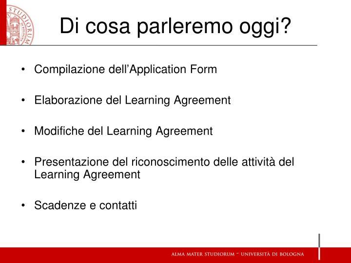 Compilazione dell'Application Form