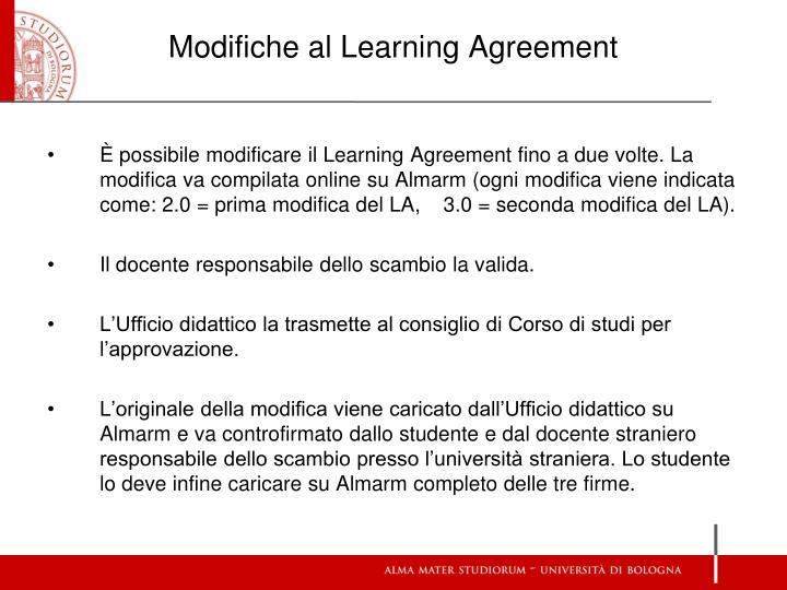 Modifiche al Learning Agreement