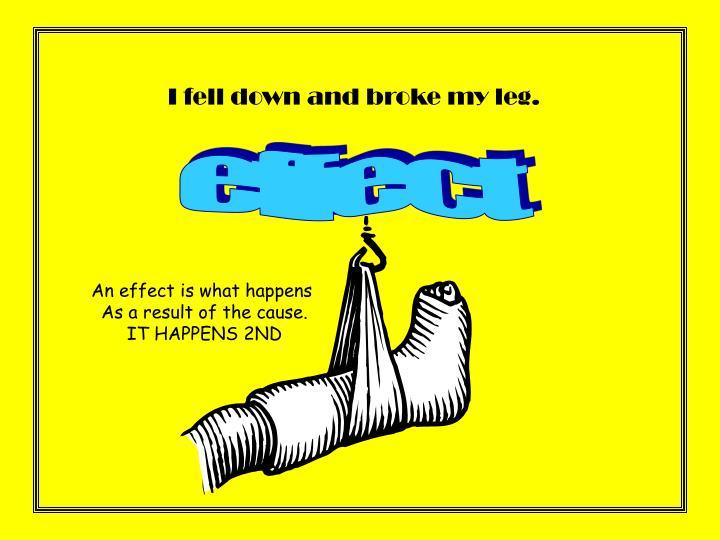 I fell down and broke my leg.