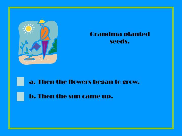 Grandma planted seeds.