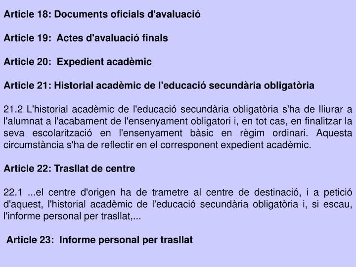 Article 18: Documents oficials d'avaluació