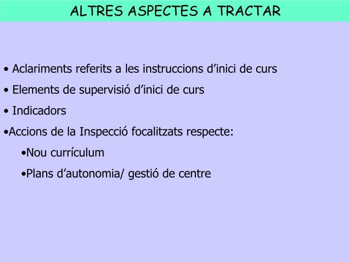 Aclariments referits a les instruccions d'inici de curs