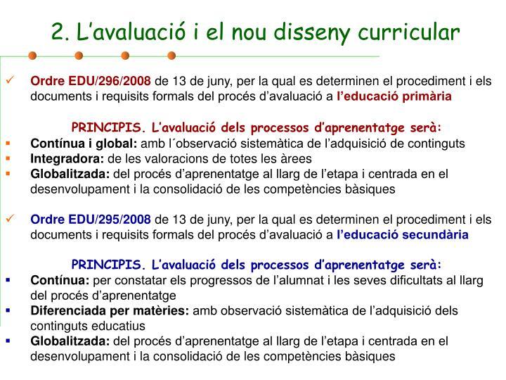 2. L'avaluació i el nou disseny curricular
