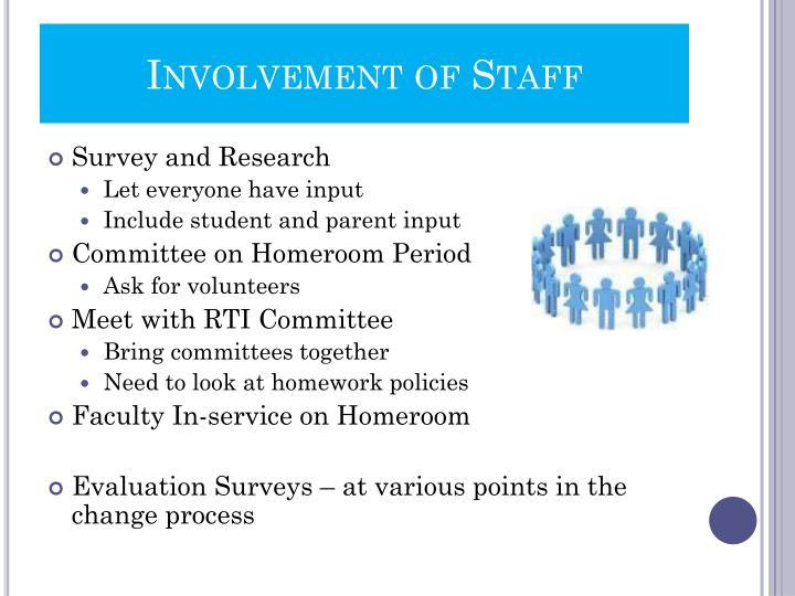 Involvement of Staff