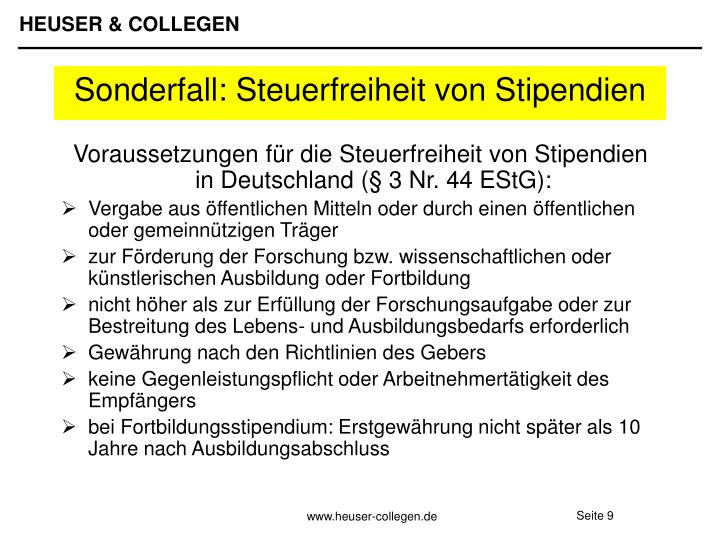 Voraussetzungen für die Steuerfreiheit von Stipendien in Deutschland (§ 3 Nr. 44 EStG):