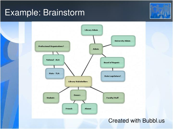 Example: Brainstorm