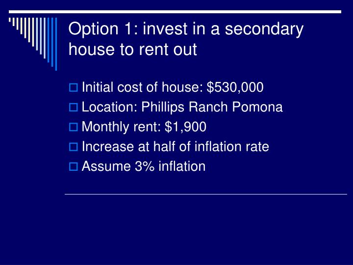 Option 1: invest in a secondary house to rent out