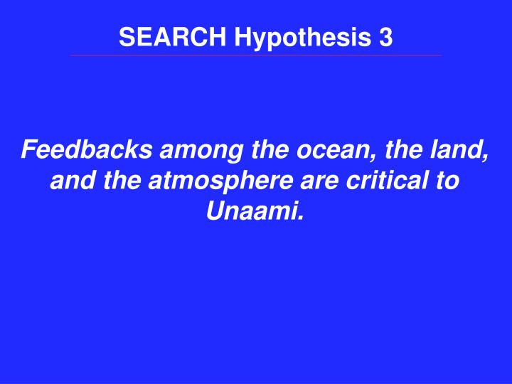 SEARCH Hypothesis 3