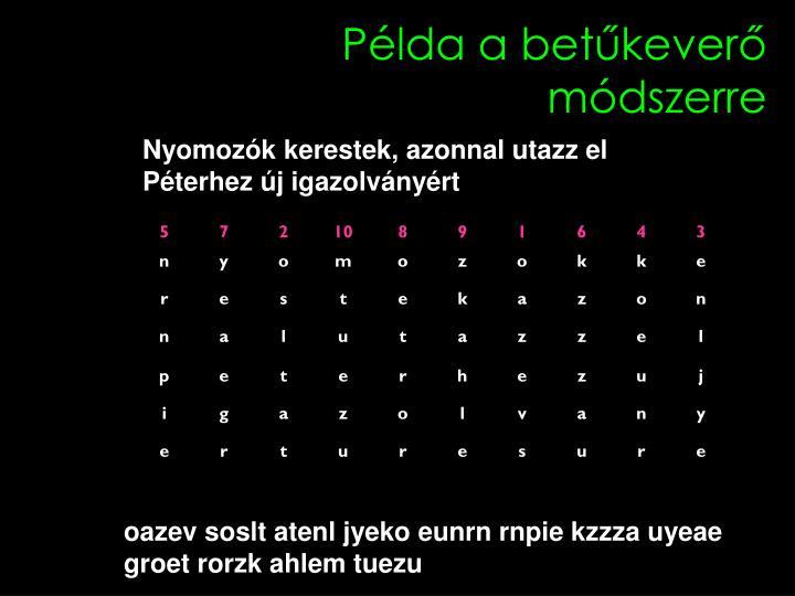 Példa a betűkeverő módszerre