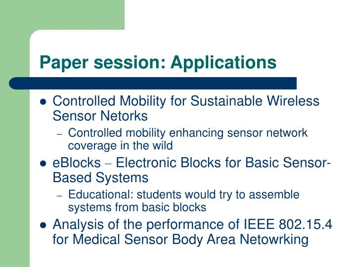 Paper session: Applications
