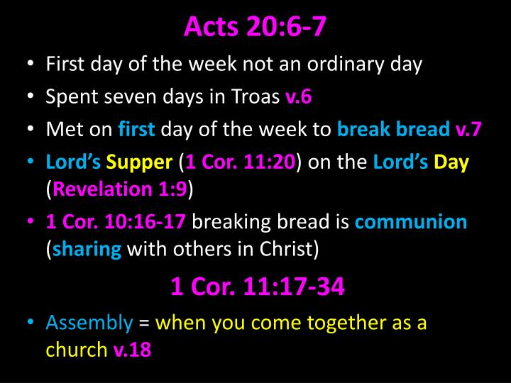 Acts 20:6-7