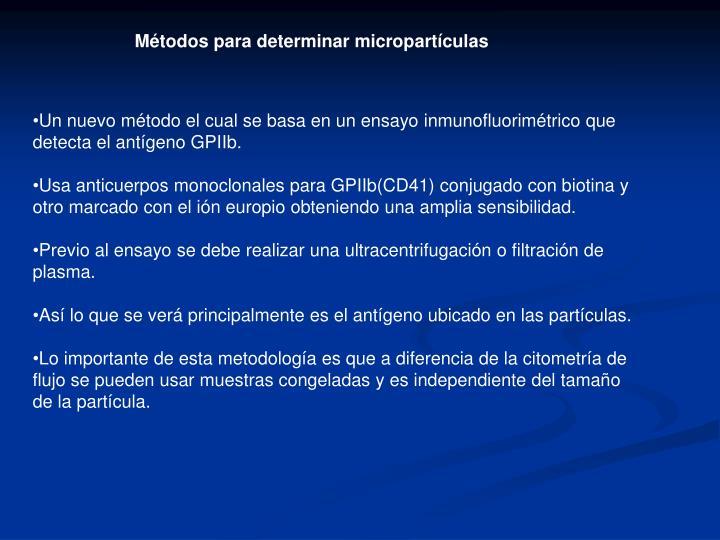 Métodos para determinar micropartículas