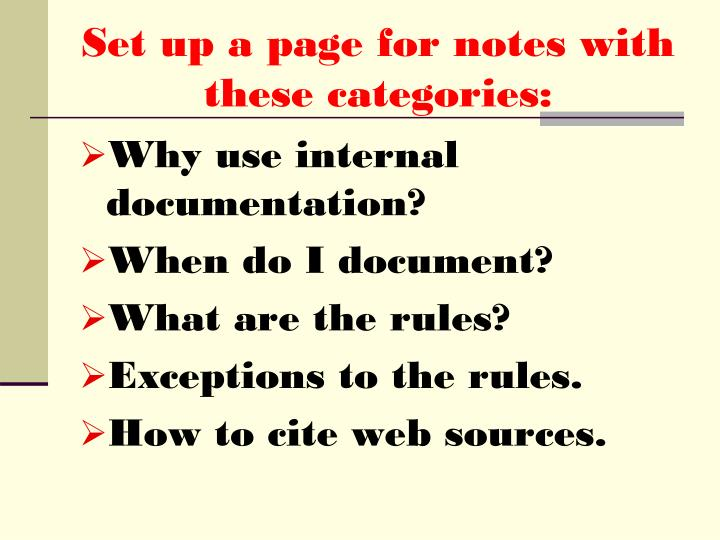Set up a page for notes with these categories