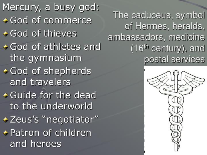 The caduceus symbol of hermes heralds ambassadors medicine 16 th century and postal services