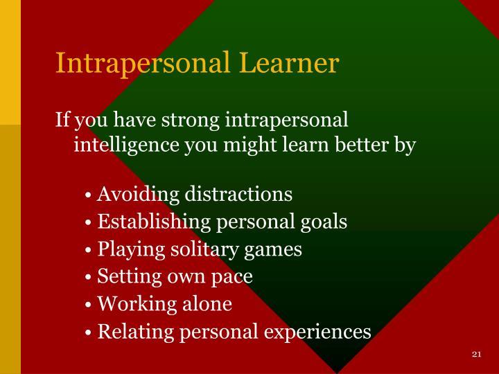 Intrapersonal Learner