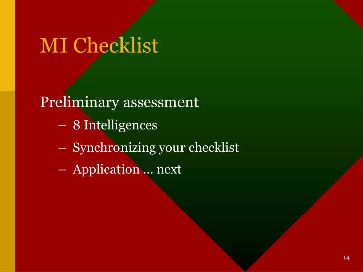 MI Checklist