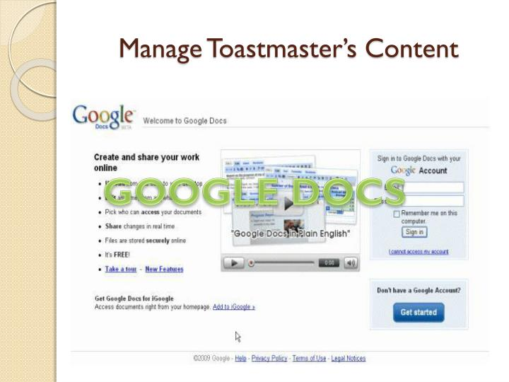 Manage Toastmaster's Content