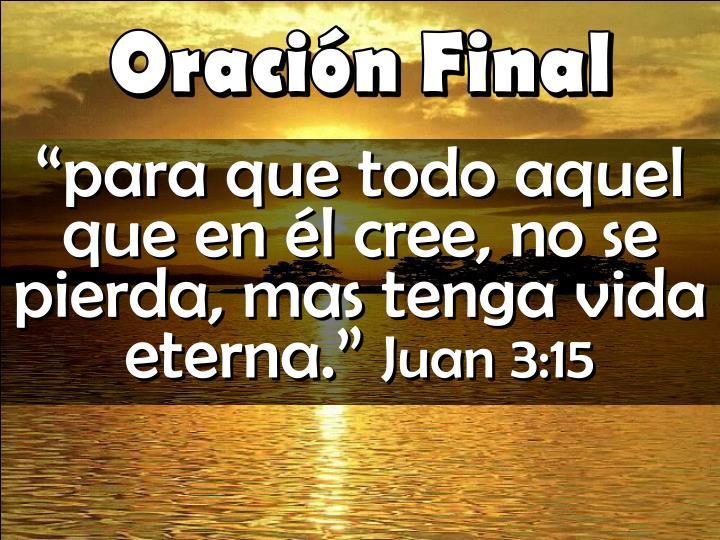 """""""para que todo aquel que en él cree, no se pierda, mas tenga vida eterna."""""""