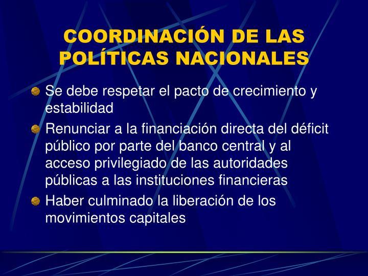 COORDINACIÓN DE LAS POLÍTICAS NACIONALES