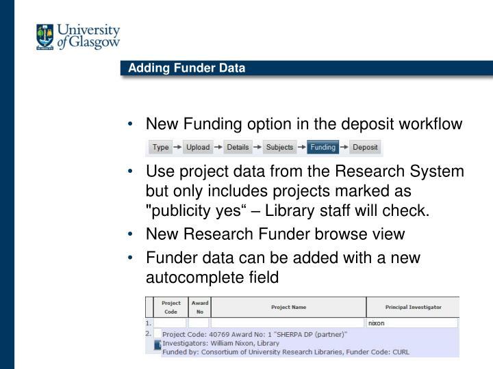 Adding Funder Data