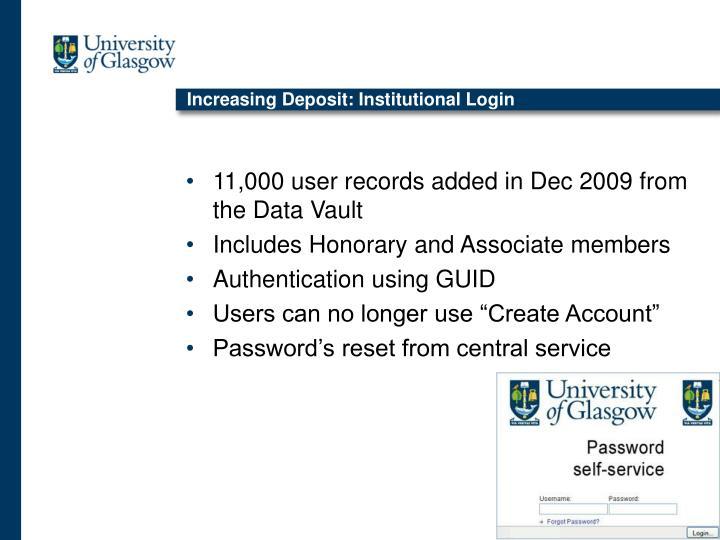 Increasing Deposit: Institutional Login