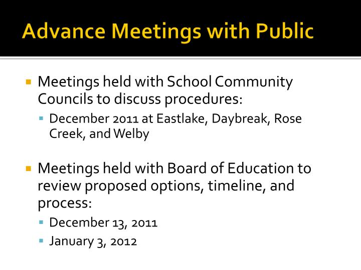 Advance Meetings with Public