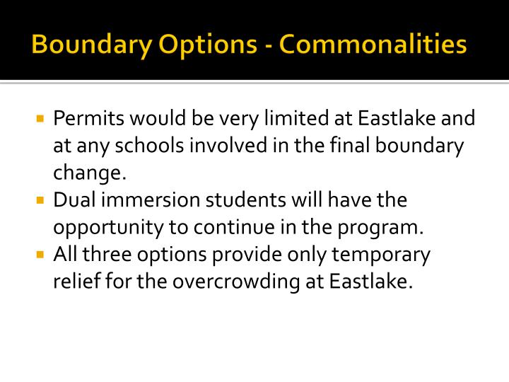 Boundary Options - Commonalities