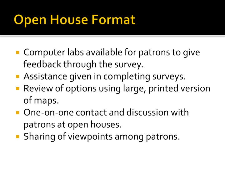 Open House Format