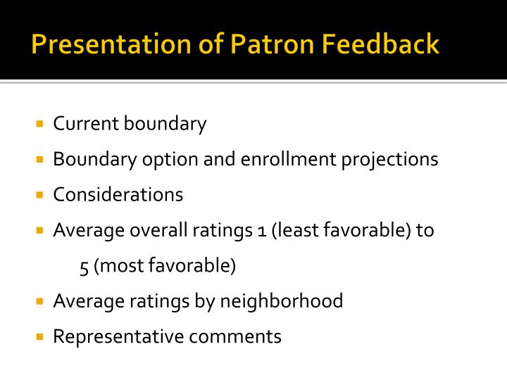 Presentation of Patron Feedback