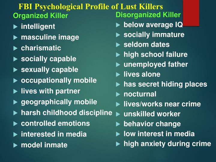 FBI Psychological Profile of Lust Killers
