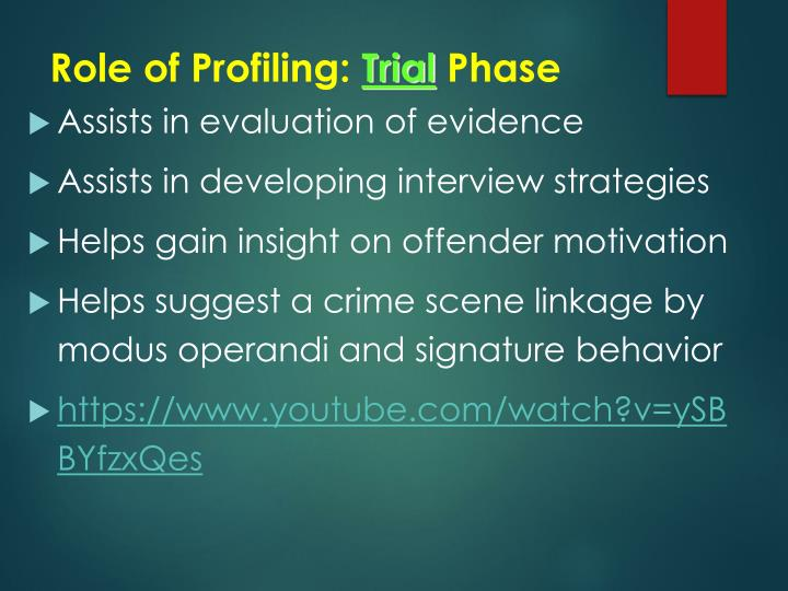 Role of Profiling: